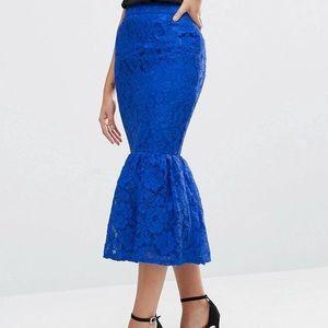 ASOS Blue Peplum Fishtail Skirt